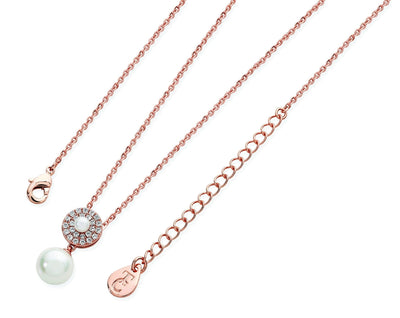 Tipperary Crystal ROSE GOLD PAVE CIRCLE WITH DROP PEARL PENDANT - R. Mc Cullagh Jewellers