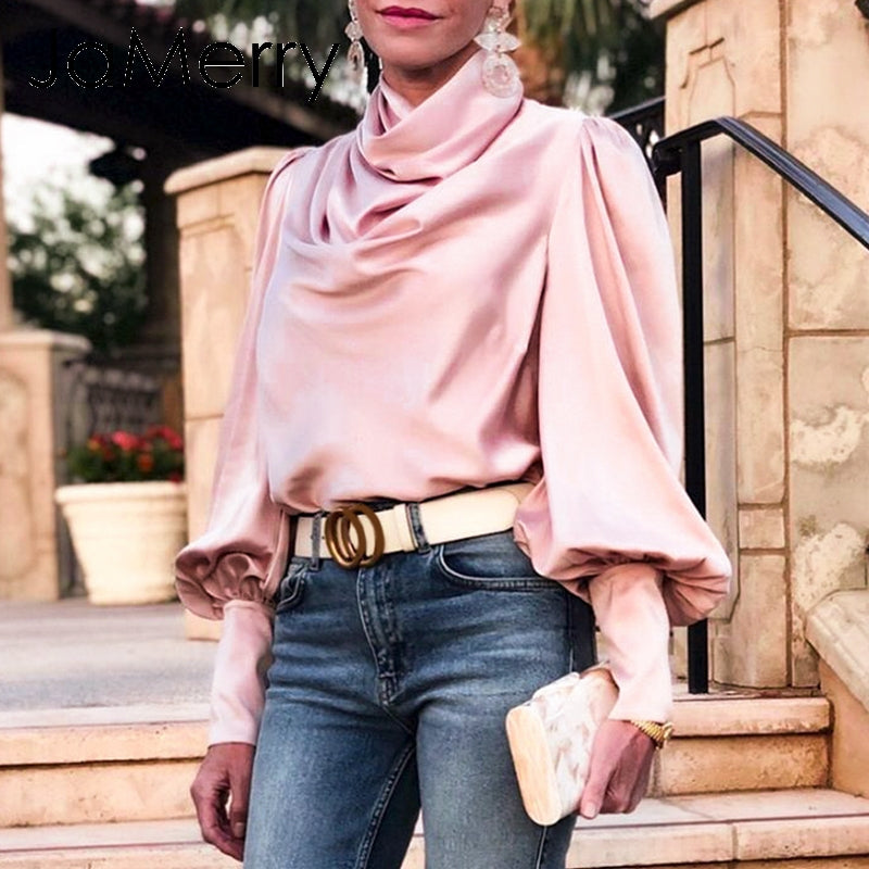 Turtle Neck pleated Luxury Blouse