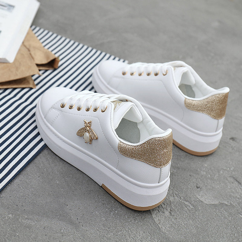 Casual Leather Platform Breathable Sneakers