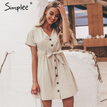 Casual Vintage Button Short Sleeve Cotton Dress