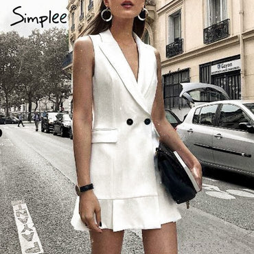 Aline Slim White Blazer Work Dress