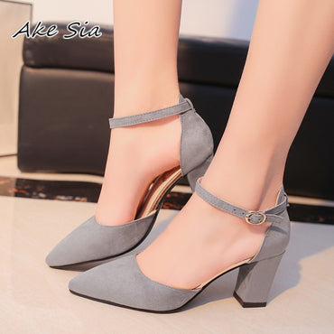 Flock pointed Sandals High Heels