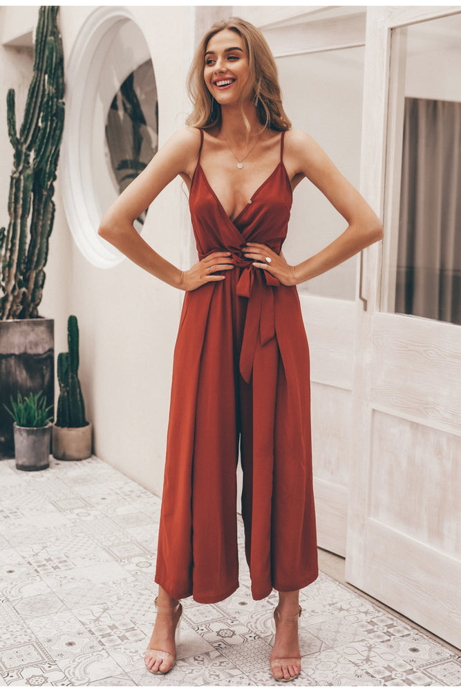 Beach Loose Sexy Floral print jumpsuits