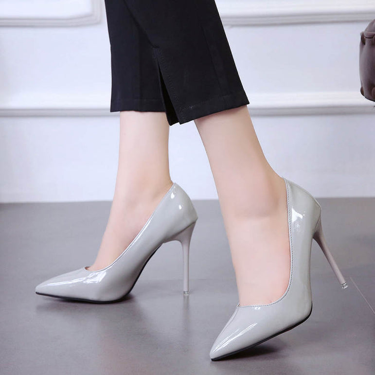 Leather Pointed Toe Pumps High Heels