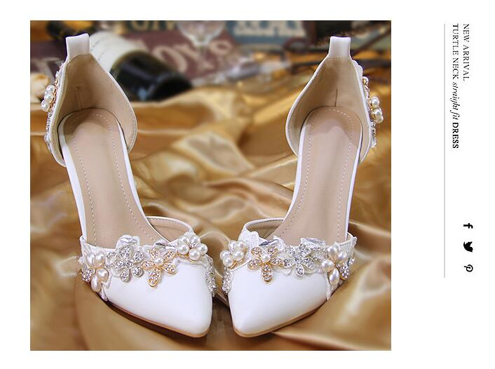 Crystal Pearl Flower Bride High Heel