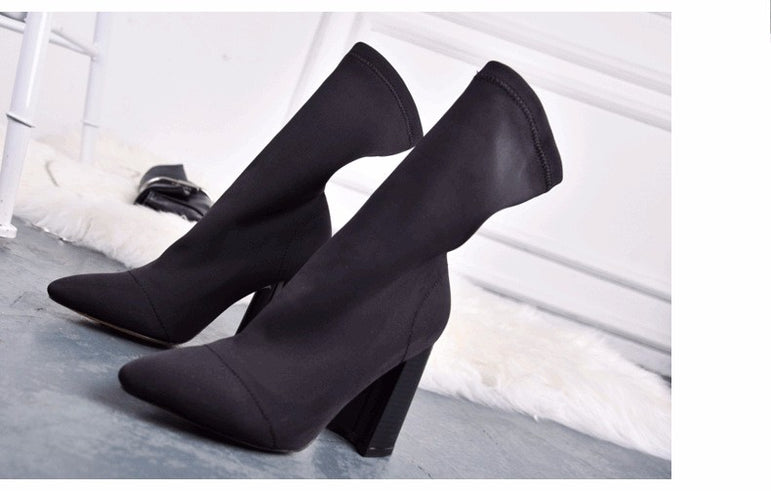 Thick Heel High Heels Pointed Toe Ankle Boots