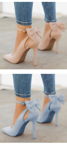 Pointed Toe Buckle Strap Butterfly Pumps