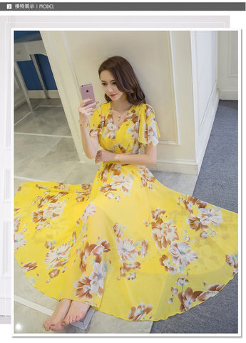 Collect Waist Flare Sleeve Chiffon Long Dress