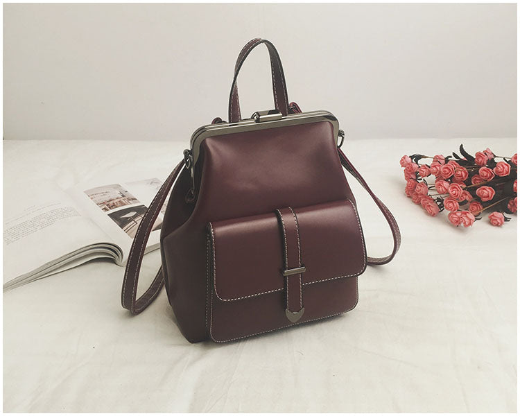 Leather Retro Hasp Back Pack Bags