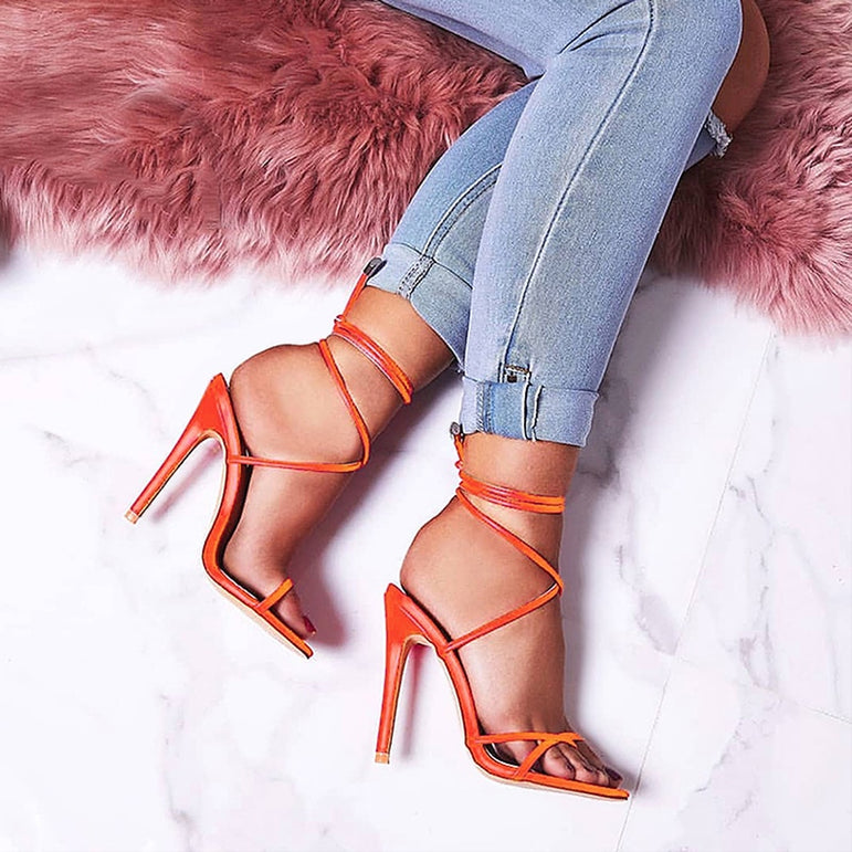 Thin Candy Point Toe Ankle Strap Sandals High Heels