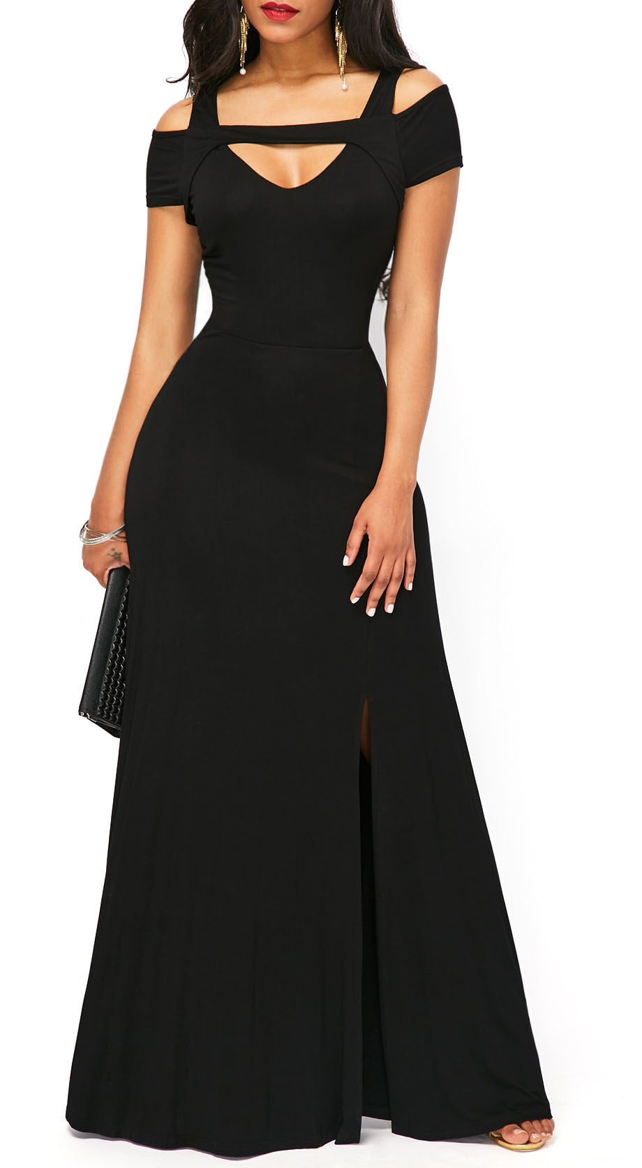 Elegant Off Shoulder Split Long Party Dress