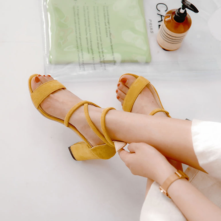 Mouth Fish Cross Strap Buckle Sandals