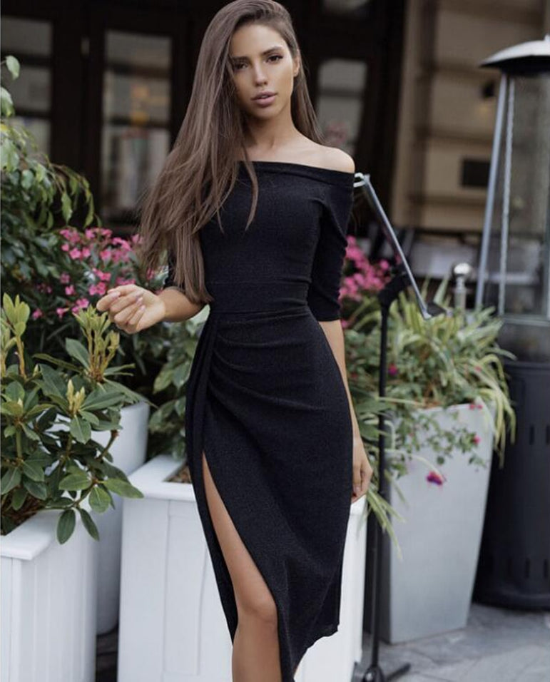 Elegant Off Shoulder High Split Shiny Bodycon Dress