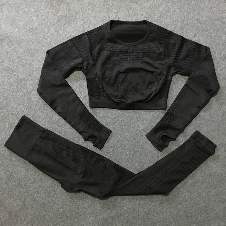 Long Sleeve Compression Crop top + seamless Leggings