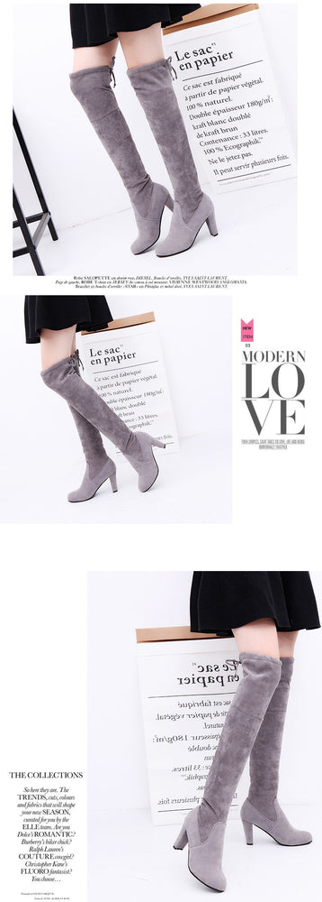 Winter Thigh High Faux Suede Slim Over The Knee Boots