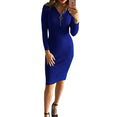 Knee-Length Sheath Long Sleeve Midi Dress