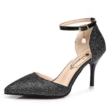 Elegant pointed toe Glitter Ankle Strap High Heels