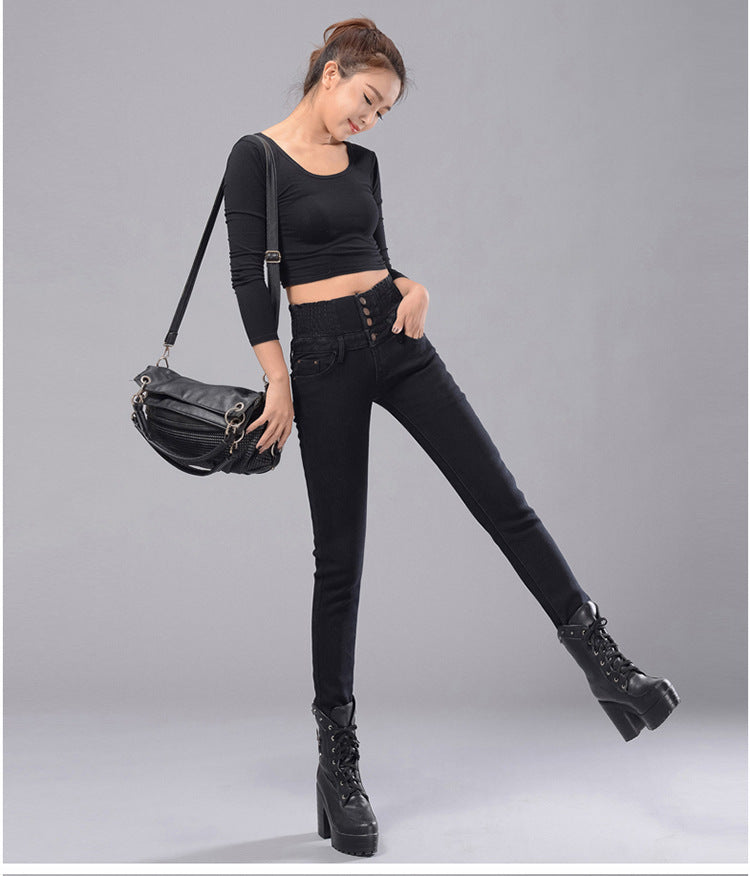 High Waist Skinny Winter Jeans Pants