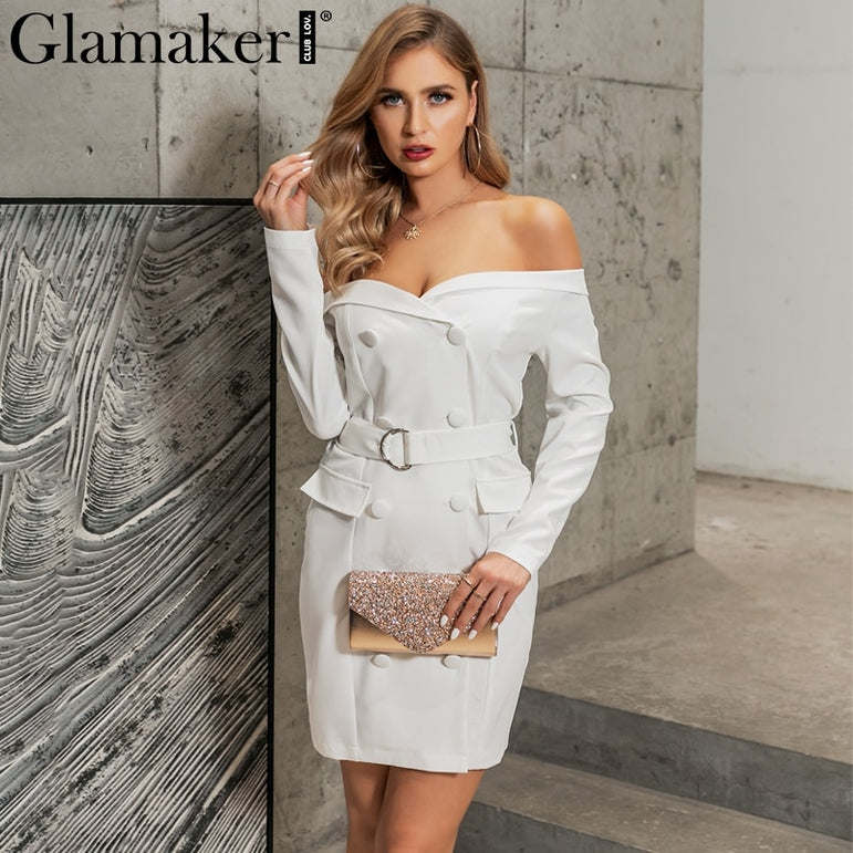 Off Shoulder Belt Blazer Dress