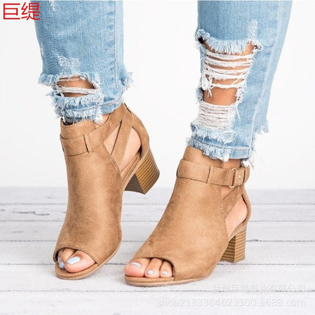 Europe Fish Mouth High Heels Sandals