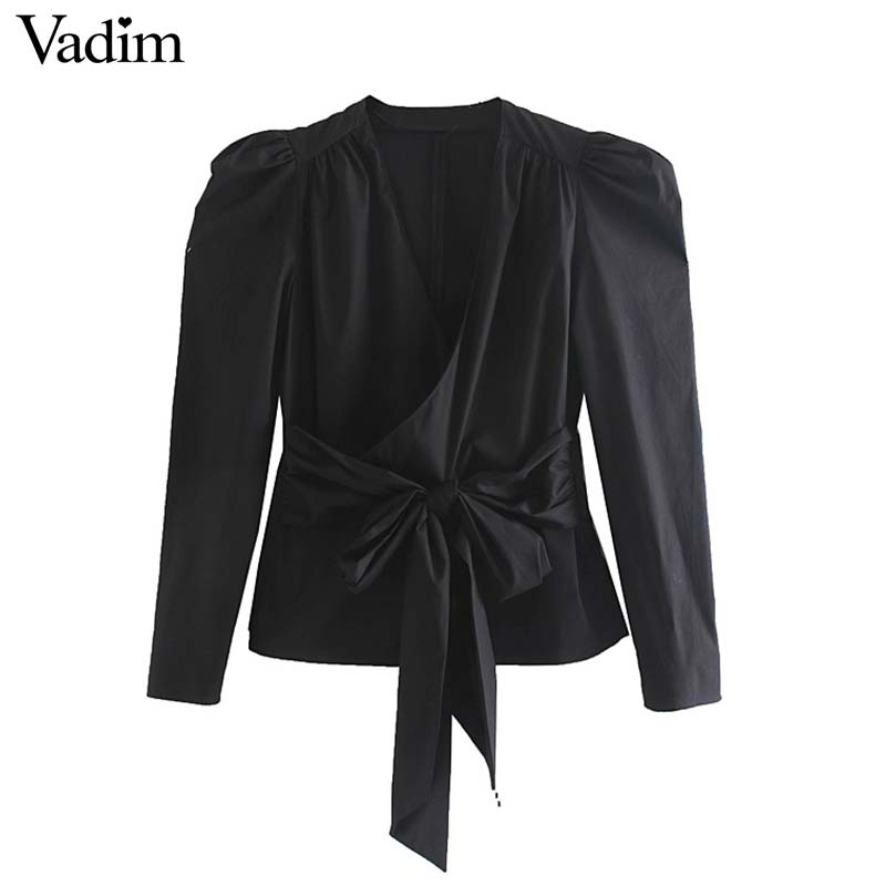 Long Sleeve Stylish Cross V neck Blouse