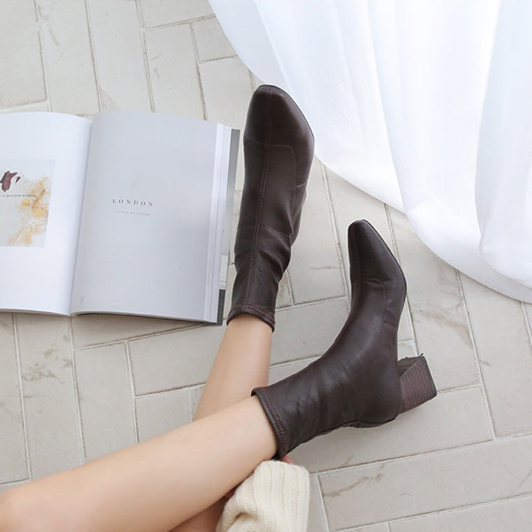 High Heeled Elastic Ankle Boots