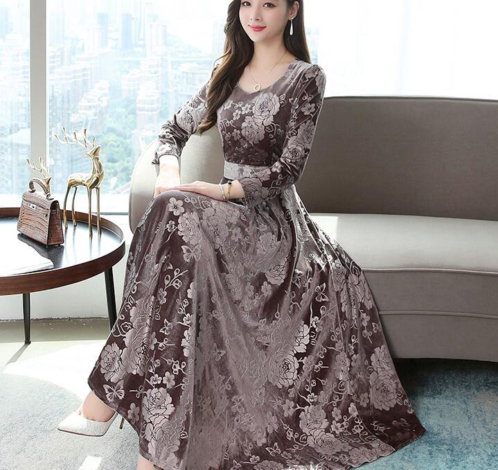 High Quality Flower Printed Long Sleeve Dress