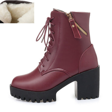 Leather Natural Wool Warm Boots