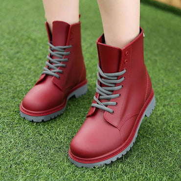 Lace Up Fashion Waterproof Ankle Boots