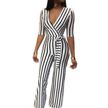 Office Lady Stripe Jumpsuit
