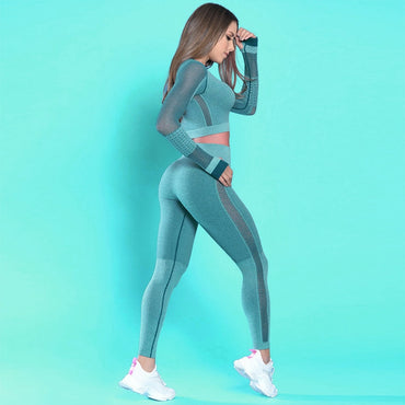 High Waist Yoga Set Yoga Crop Top Seamless Leggings