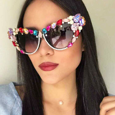Luxury Crystal Cat Eye Sunglasses
