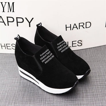 Casual Flock Leisure Platform High Heel Lady Sneakers