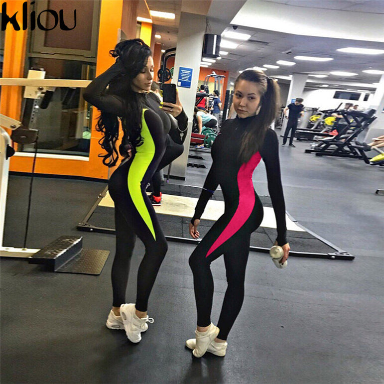 Full Sleeve Zipper push up Fitness jumpsuits