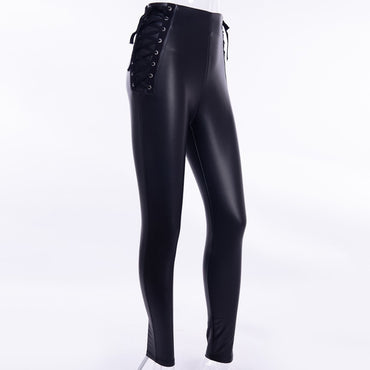 Leather Lace Up Back Zip Pencil Pants