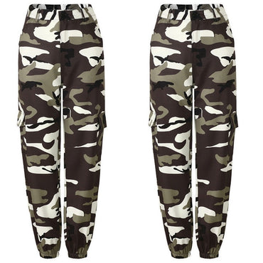 High Waist Hip Hop Camo Cargo Pants