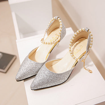 Thin Breathable Pointed toe Pearl High Heels