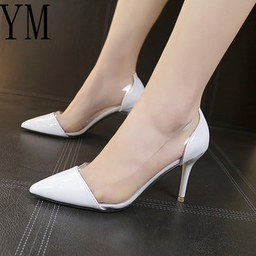 Leather Pointed Toe Pumps Luxury High Heel