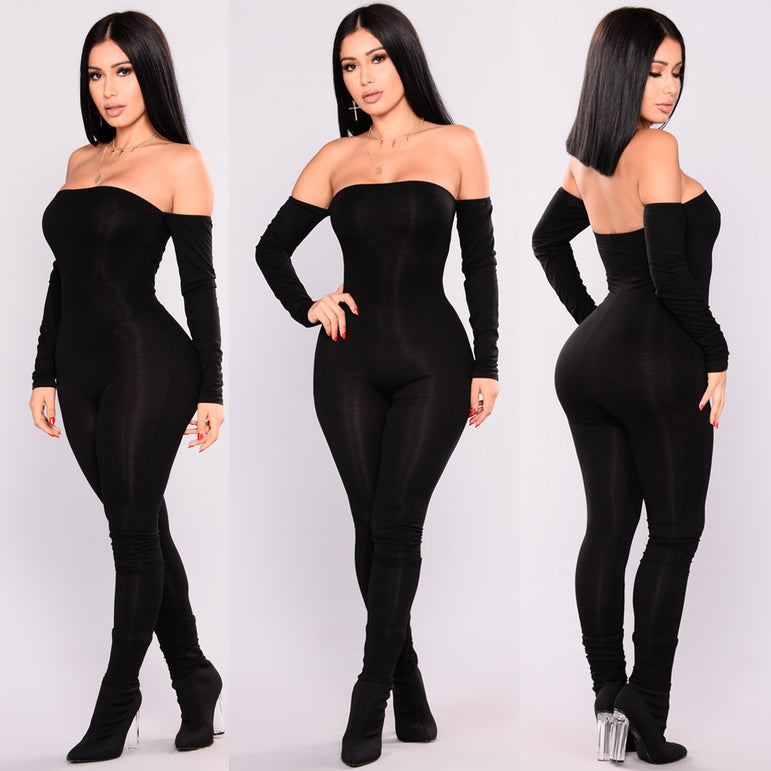 Off Shoulder Bodycon Long Sleeve Clubwear Playsuit Jumpsuits