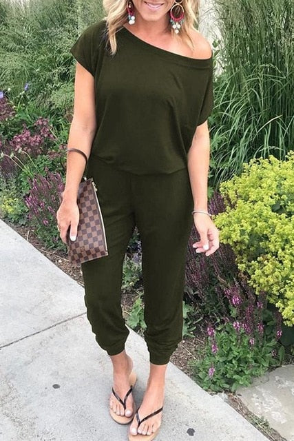 Casual Sleeveless Cross Strap Lace Up Jumpsuits