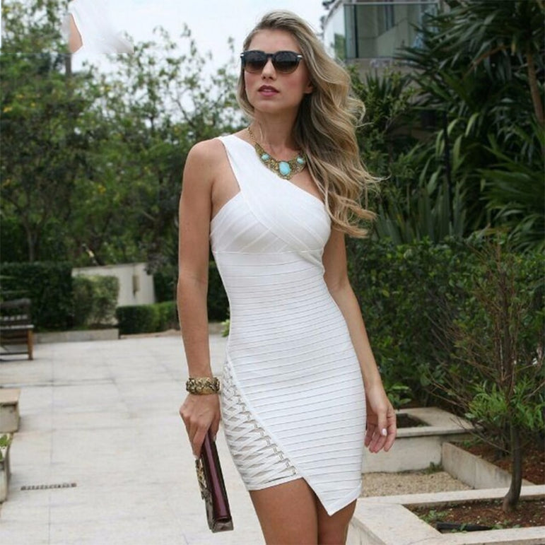 One-Shoulder Sleeveless Bandage Dress