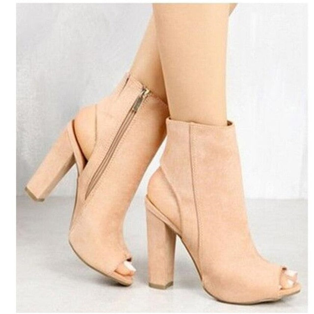 Mouth Zipper Pump High Heels