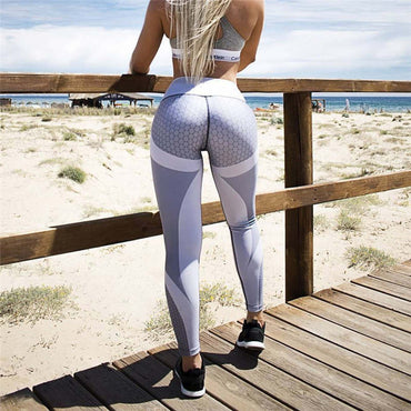 High Waist Yoga pants Honeycomb Leggings