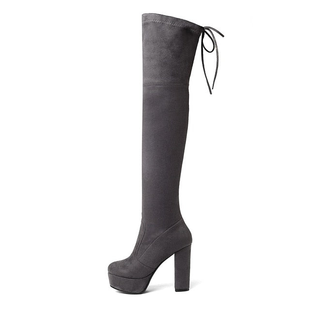 Thigh High Platform Stretch Over the Knee Boots