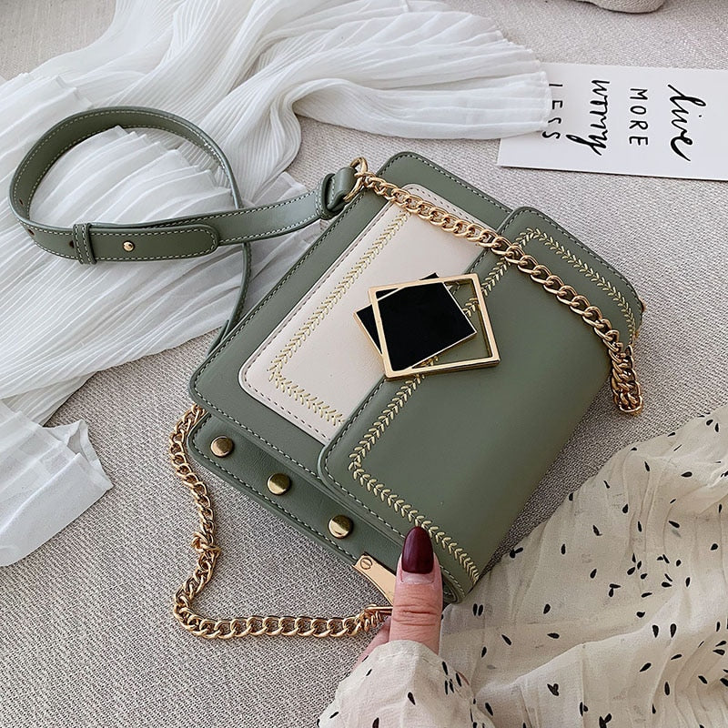 Leather Crossbody Shoulder Messenger Chain Bags