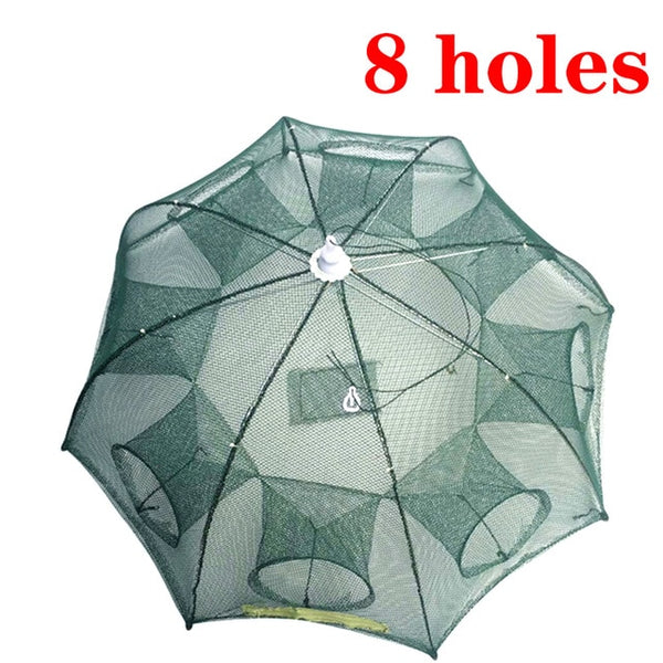 Strengthened 2-8 Holes Automatic Fishing Net Shrimp Cage Nylon Foldable Fish Trap Cast Net Cast Folding Fishing Network Outdoor