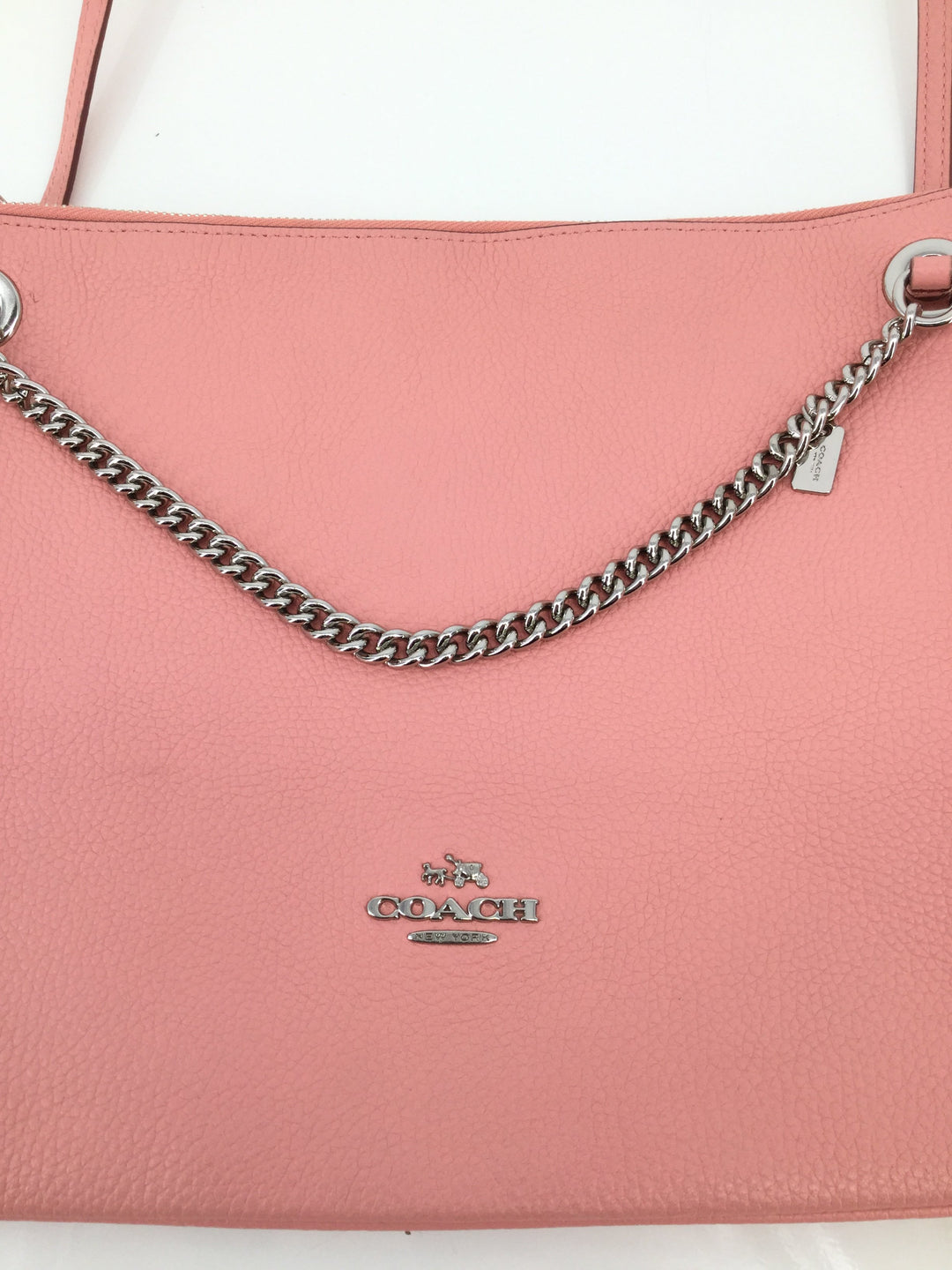 Medium Size Pink Leather Coach Crossbody  - <P>MEDIUM SIZED PINK LEATHER COACH CROSSBODY WITH SILVER CHAIN DETAILING. PINK INTERIOR WITH CLASSIC COACH PATTERN. GENTLY USED CONDITION.</P>