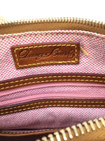 Dooney And Bourke Handbag Designer Size:medium - <P>TAN DOONEY AND BOURKE HANDBAG WITH GOLD DETAILING. RED AND WHITE INTERIOR WITH MULTIPLE POCKETS AND A KEY FINDER.</P>