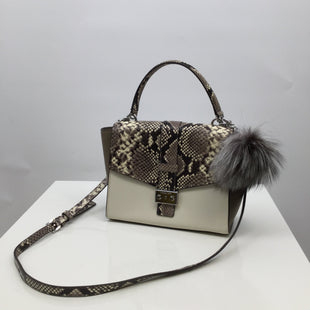 Michael Kors Handbag Designer, Leather, Snakeskin Print, Size: medium - THIS FUN SNAKESKIN PRINT MICHAEL KORS BAG IS IN PERFECT CONDITION AND LOOKS LIKE IT HAS NEVER BEEN USED. THE STRAP IS ADJUSTABLE AND THE FURRY KEY CHAIN IS REMOVABLE..
