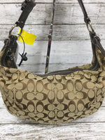 "Photo #1 - BRAND: COACH , STYLE: HANDBAG DESIGNER , COLOR: TAN , SIZE: MEDIUM , OTHER INFO: CLOTH MATERIAL , SKU: 127-4169-34834, , THIS CLOTH COACH HANDBAG FEATURES THE CLASSIC COACH ""C"" DESIGN. IT HAS AN ADJUSTABLE LEATHER SHOULDER STRAP. IT IS VERY CLEAN WITH VERY LITTLE WEAR."